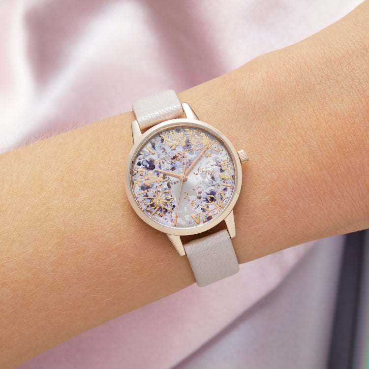 Abstract Floral Midi Pearl Pink & Rose Gold Watch (OB16VM47)