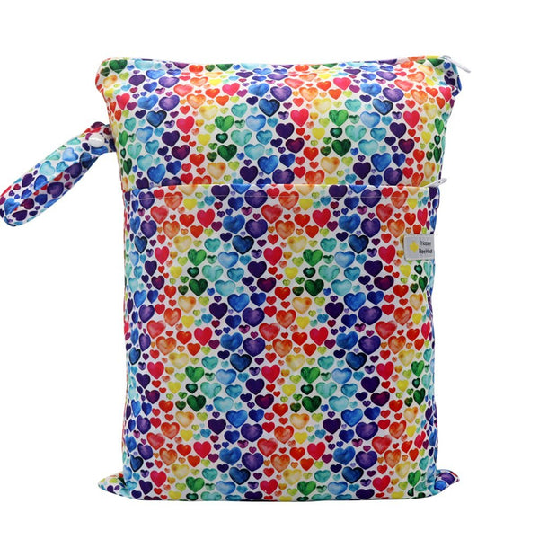 Happy Beehinds- Double Pocket Wet Bag Colorful Hearts