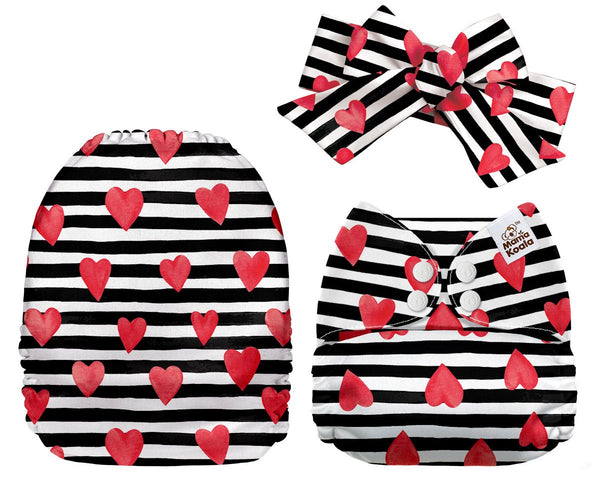 Mama Koala - Black and White Striped Hearts Exclusive + Headband