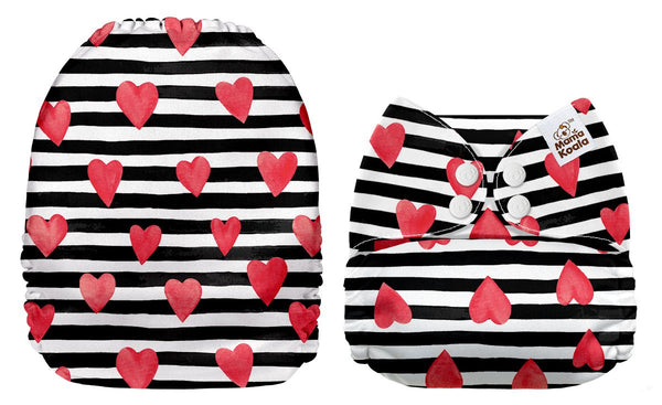Mama Koala - Black and White Striped Hearts Exclusive