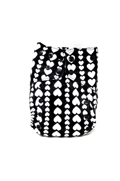 BumBum Babies- Black and White Hearts AI1.5 Diaper
