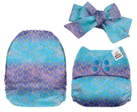 Mama Koala - EXCLUSIVE- Purple and Blue Dragon Scales & Headband