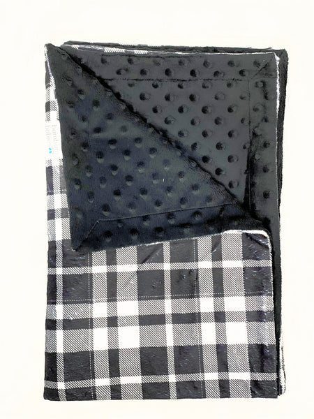 BumBum Babies Minky Blanket- Black and White Plaid