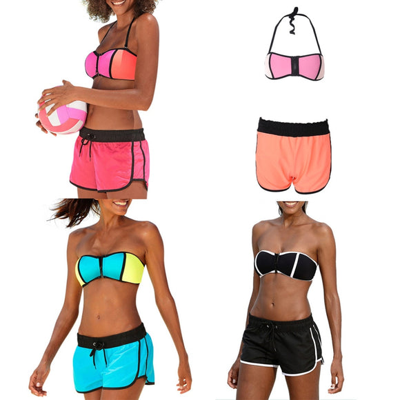 adc872f271c2a Women Two-piece Swimsuit Bikini Set Strappy Push Up Bra Low Waist Shorts  Swimwear