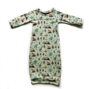 Camping Dino Organic Cotton Newborn Gown