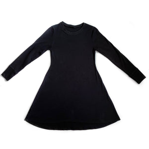 Women's Basic Black Long Sleeve Dress
