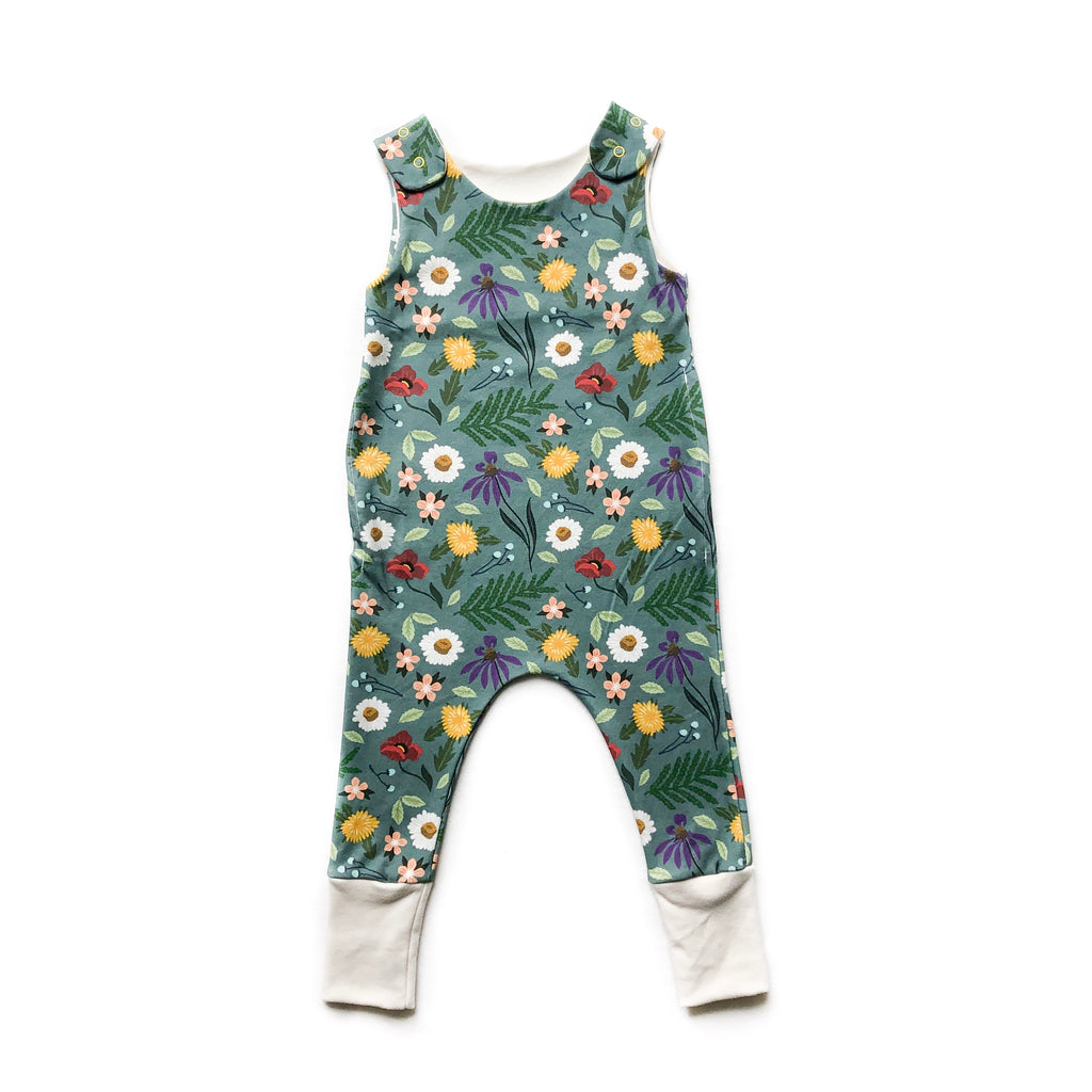 RTS - Blue Spring Organic Cotton Grow With Me Romper with Cream Accent