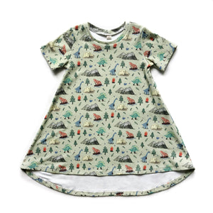 Camping Dino Organic Cotton Dress