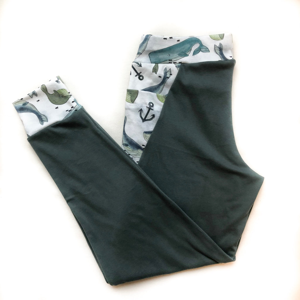 Women's Whimsical Whales Organic Cotton Joggers