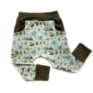 Camping Dino Organic Cotton Pocket Leggings - Baby