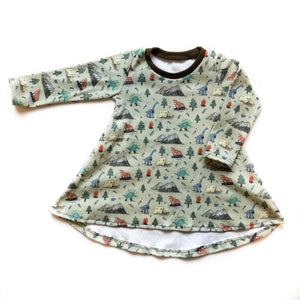 Camping Dino Organic Cotton Long Sleeve Dress