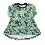 Festive Floral Organic Cotton Long Sleeve Dress