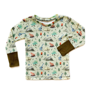 Kids Camping Dino Long Sleeve Shirt