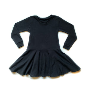 Kid Basic Black Long Sleeve Twirl Dress