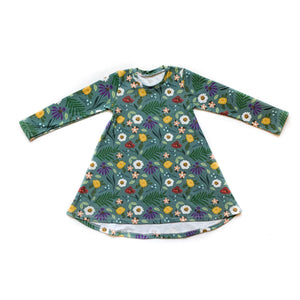 Toddler Blue Spring Long Sleeve Tunic Dress