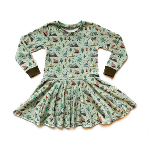 Kids Camping Dino Twirl Dress