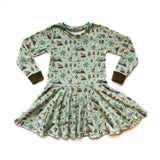 Toddler Camping Dino Twirl Dress