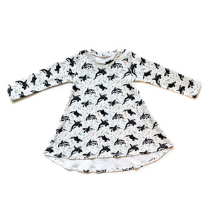 Toddler Orca Whale Long Sleeve Tunic Dress