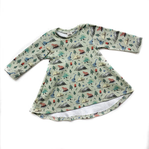 Children's Camping Dino Long Sleeve Tunic Dress