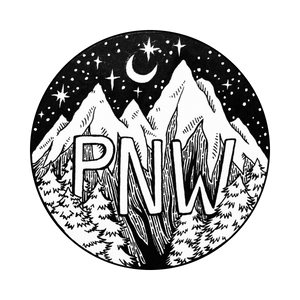 Black & White PNW Moutains Sticker