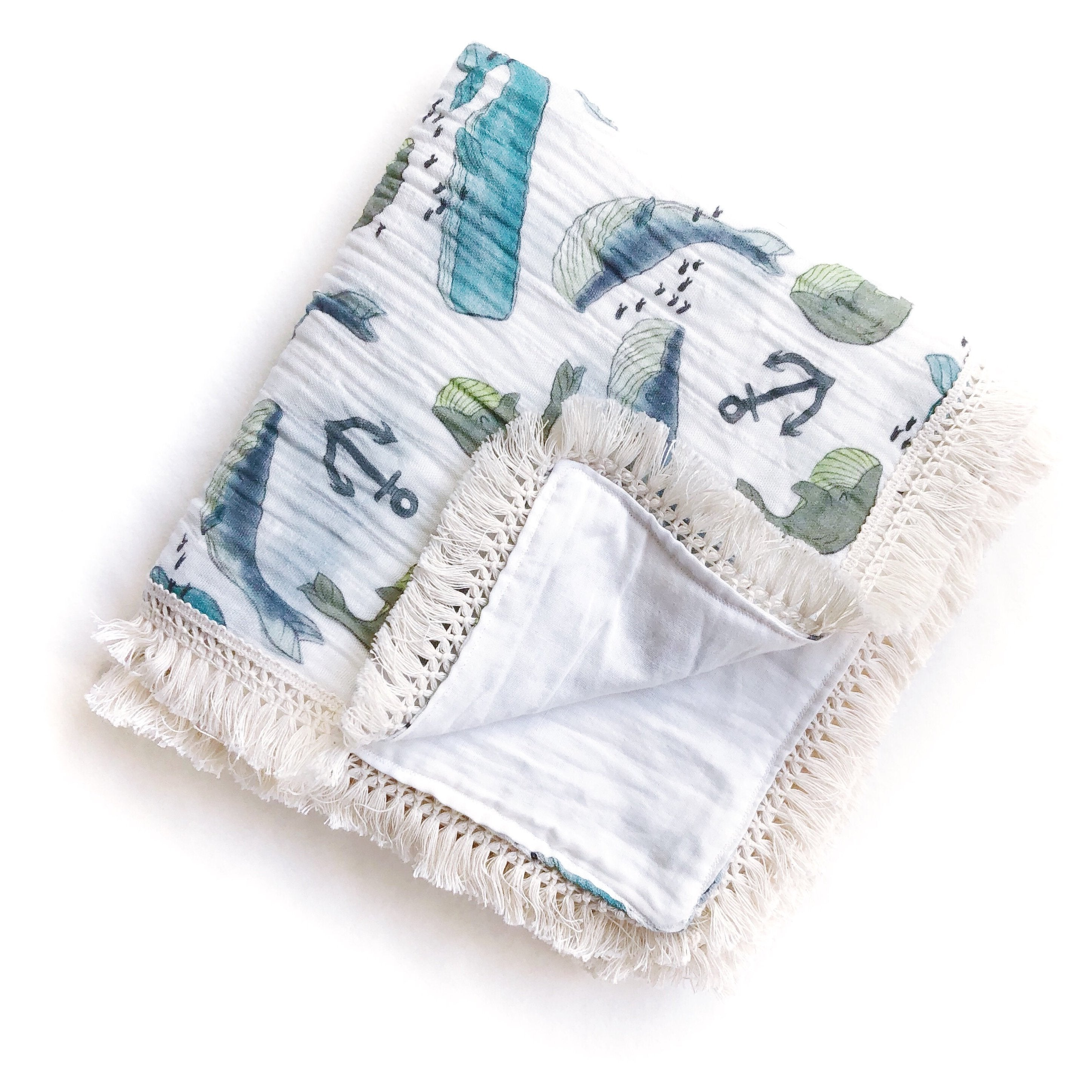 Whimsical Whales Organic Cotton Heirloom Blanket