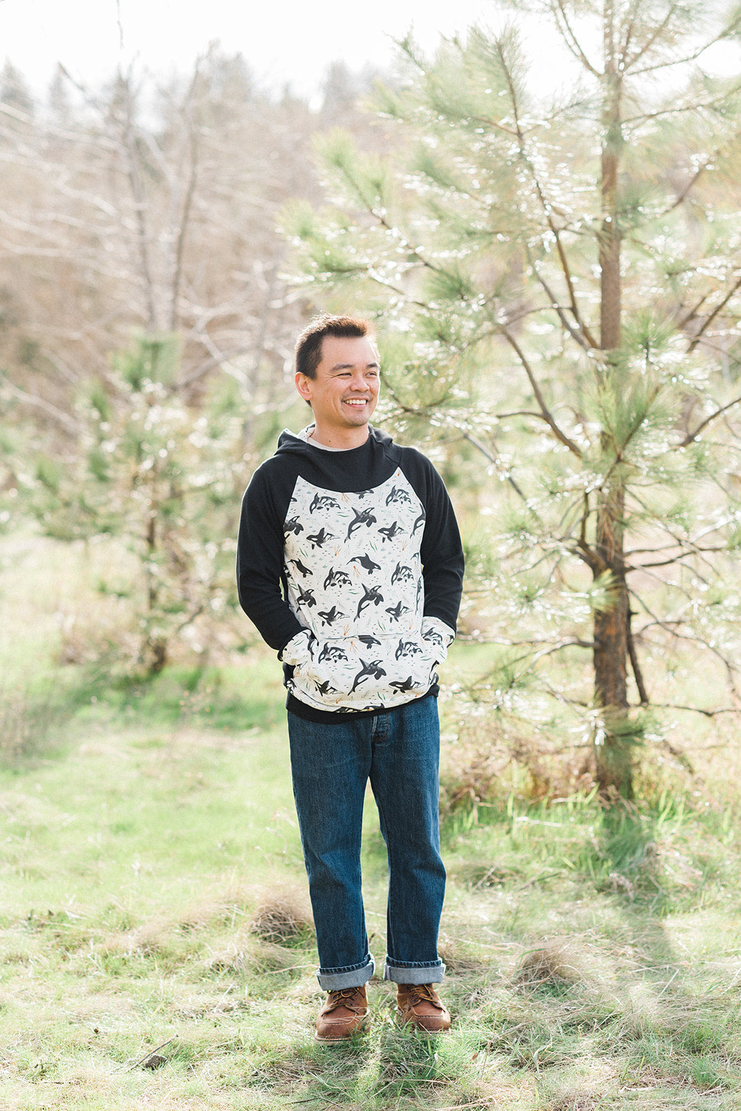 Adult Men's Orca Whales Organic Cotton Hoodie