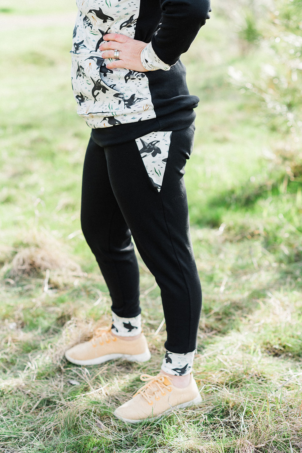 Women's Birds and Orca Whales Cotton Joggers