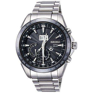 SEIKO ASTRON GPS SOLAR BIG DATE BLACK DIAL SILVER MEN WATCH SBXB149
