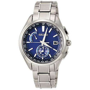 SEIKO BRIGHTZ SOLAR RADIO WAVE TITANIUM DUAL TIME WORLD TIME SILVER MEN WATCH SAGA285