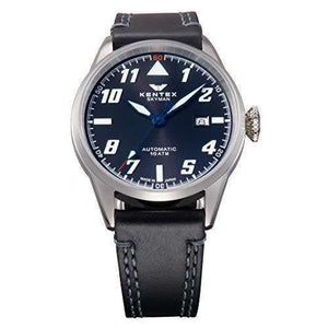KENTEX SKYMAN PILOT ALPHA MECHANICAL AUTOMATIC BLACK MEN WATCH S688X-15