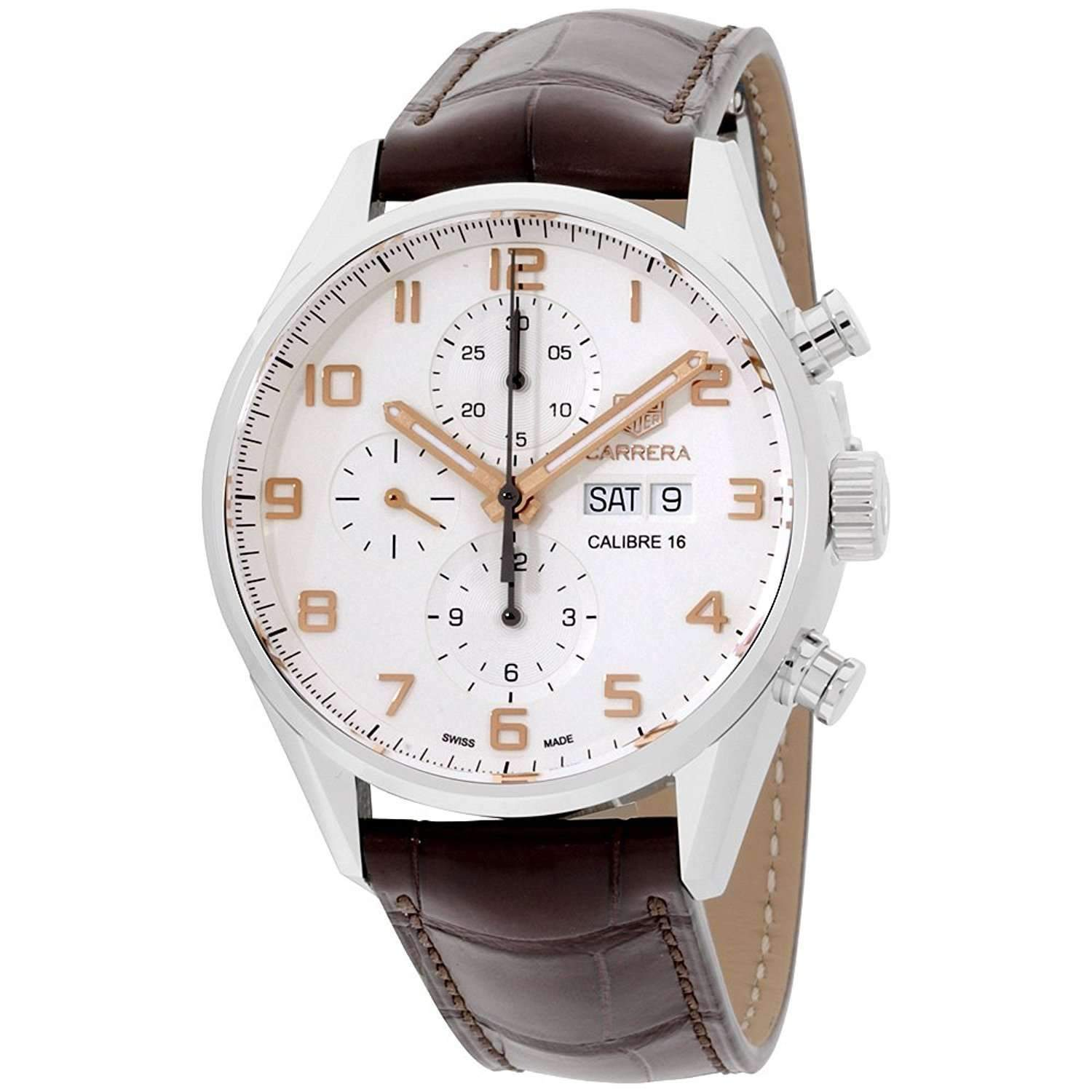 a78ab25d05238 TAG HEUER CARRERA AUTOMATIC WHITE DIAL BROWN MEN WATCH CV2A1AC.FC6380 -  ROOK JAPAN