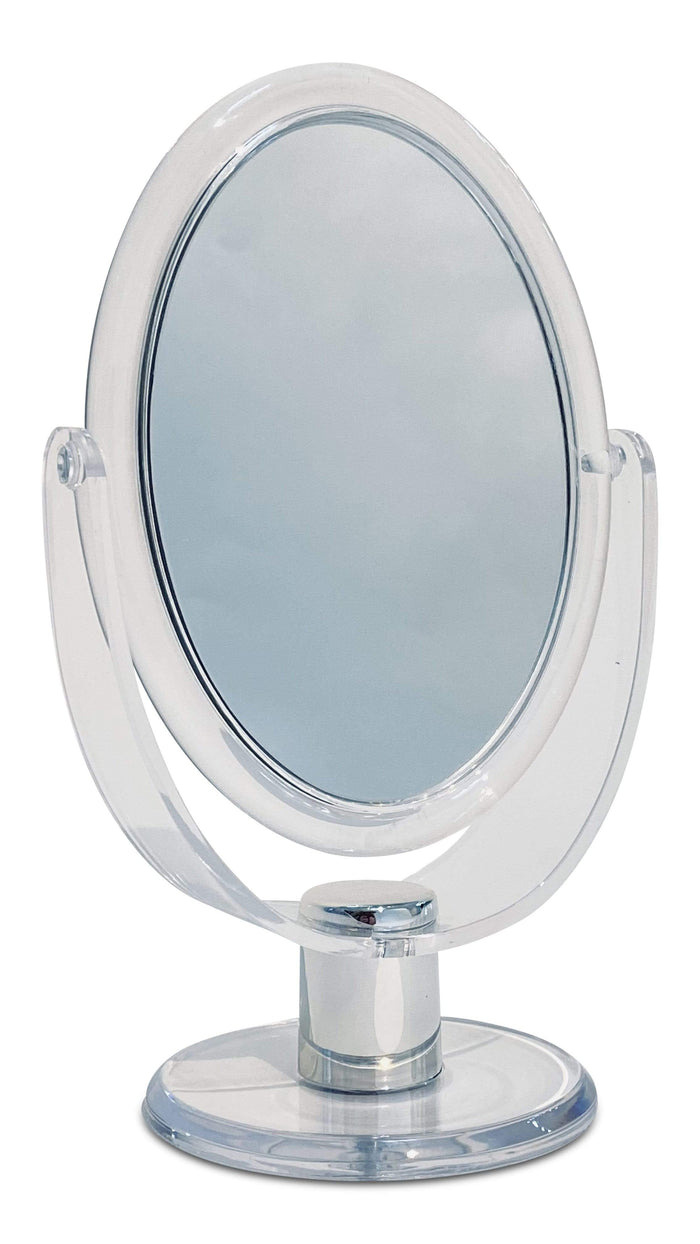 Standing magnifying mirror - oval white