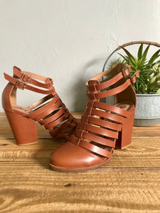 Brook Leather Double Ankle Strap Heels in Camel
