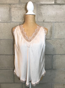 Lace Deep Double V-Neck Cami in Cream