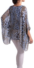 Silk Leopard Print Blouse in Blue