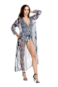 Open-Front Long Kimono in Zebra Queen Print