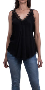 Lace Deep Double V-Neck Cami in Black