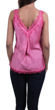 Lace Deep Double V-Neck Cami in Hot Pink
