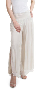 Silk Pant with Side Slits in Cream