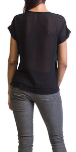 Short Sleeve Sequin Top in Black