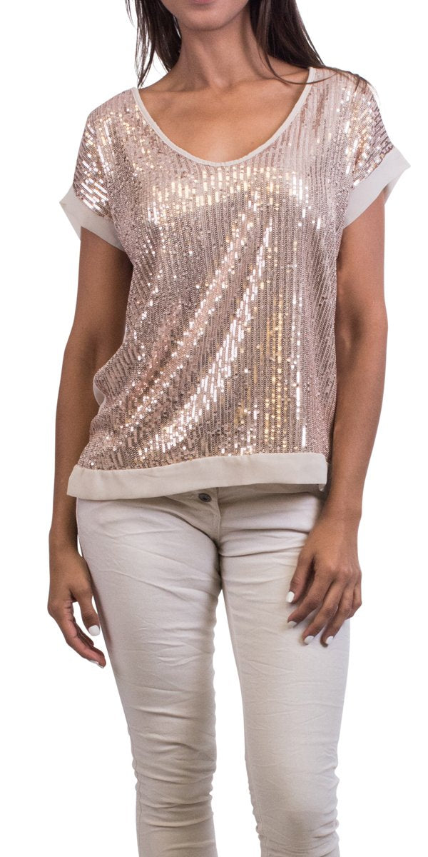Short Sleeve Sequin Top in Cream