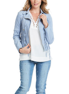 Faux Suede Fring Moto Jacket in Baby Blue