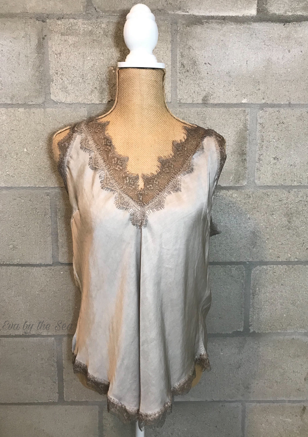 Lace Deep Double V-Neck Cami in Taupe
