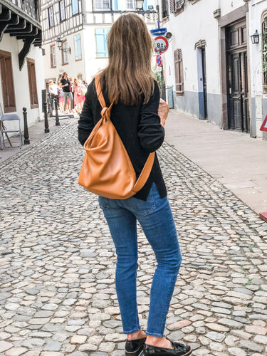 Soft Leather Purse / Backpack in Sienna-Umber
