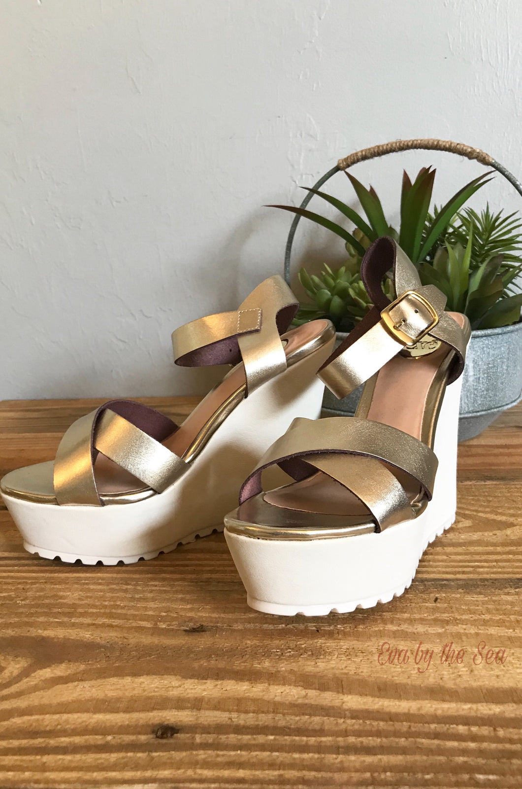 Exe Miami Wedge Crossover Sandal in Gold