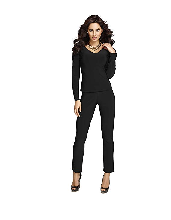 Pull-On Tapered Leg Knit Pant in Black