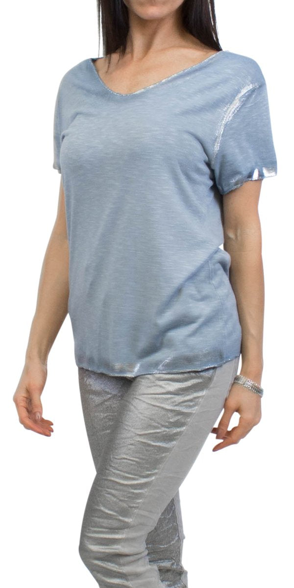 Silver Accent V-Neck Tee in Blue