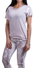 Silver Accent V-Neck Tee in White