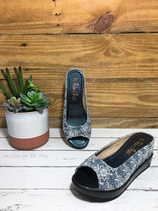 Lace Denim Slides in Blue
