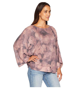 Pink & Grey Abstract Floral Print Sweater-Knit Top